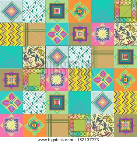 сollage tile patchwork in bright colored background