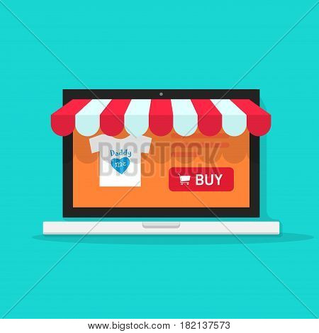 Online shop vector illustration, flat style on-line internet store front on laptop computer, shopping cart storefront, ecommerce showcase
