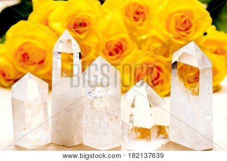 Lined five obelisk rock crystals in front of yellow rose flowers