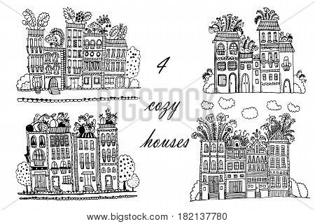 drawing Flower City, set of 3  illustrations with funny fantasy houses, sketch doodle cartoon hand drawn vector illustration