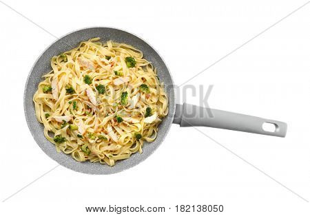 Frying pan with delicious chicken Alfredo on white background