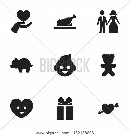 Set Of 9 Editable Kin Icons. Includes Symbols Such As Toy, Baby, Heart And More. Can Be Used For Web, Mobile, UI And Infographic Design.