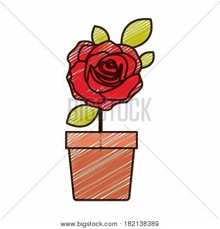 color pencil drawing of flowered red rose with leaves and stem in flowerpot vector illustration