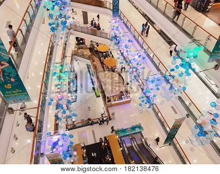BANGKOK THAILAND - MARCH 30 : Department store interior view with aisle at Central Chaengwattana on March 30 2017 in Bangkok Thailand.