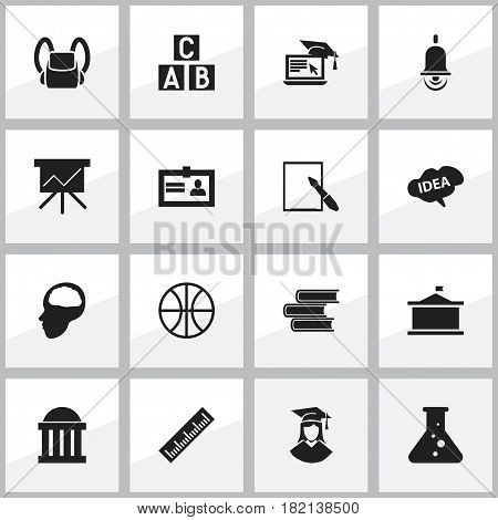 Set Of 16 Editable Science Icons. Includes Symbols Such As Schoolbag, Cerebrum, Certification And More. Can Be Used For Web, Mobile, UI And Infographic Design.