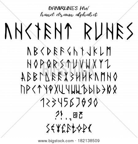Hand drawn alphabet written font in style of ancient runes: capital latin and cyrillic letters numbers some punctuation and signs of currency. Vector illustration
