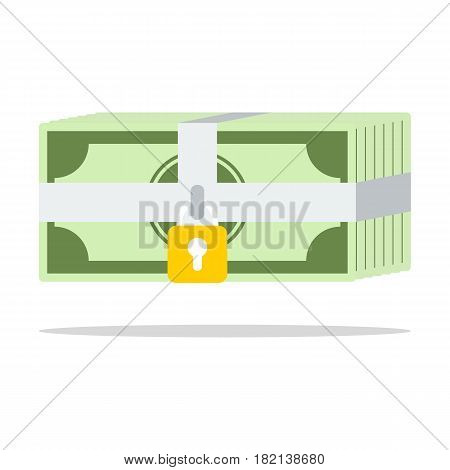 Security safety protection lock on money bill on white background flat style saving concept