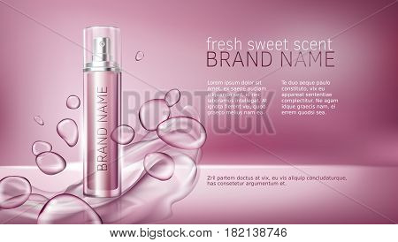 Vector 3D illustration poster with moisturizing cosmetic premium products, pink background with beautiful spray bottle and watery texture