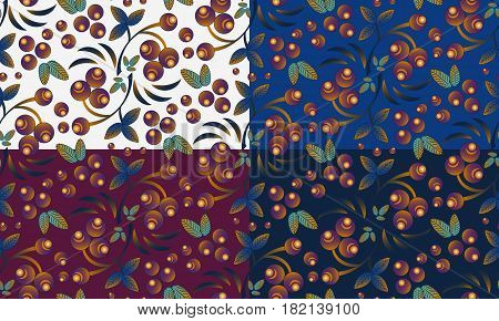 Set of seamless berry pattern with bunch of rowan in different versions in eastern colors. Traditional russian Khokhloma ornament. Vector illustration