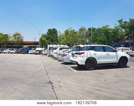 KAMPHAENG PHET THAILAND - MARCH 31 : many cars in car park at PTT gas station on March 31 2017 in Kamphaeng Phet Thailand.