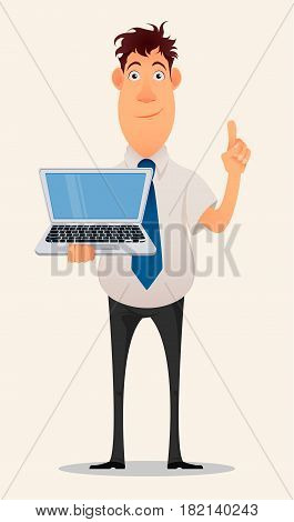 Business man cartoon character. Smiling businessman in office shirt and trousers holding laptop and showing pointing gesture having idea - stock vector