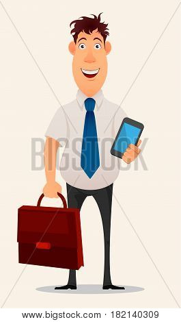 Business man cartoon character. Smiling businessman in office shirt and trousers holding laptop and document case - stock vector