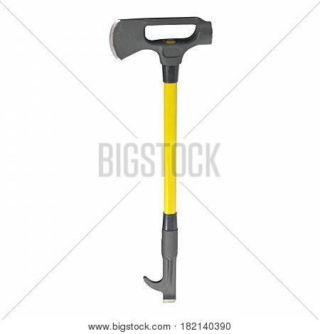 Fire Axe Isolated On White Background. Fire Fighting Equipment, Tool