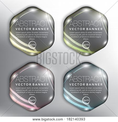 Abstract vector banner set of 4. Hexagonal pebble stones. Isolated with realistic shine and shadow on the white panel. Vector illustration. Eps10.