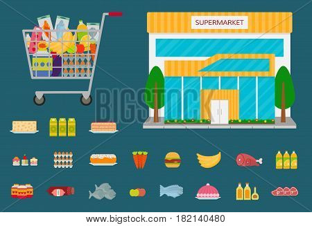 Supermarket building front facade or grocery store icon full shopping cart and food icons. EPS10 vector illustration.