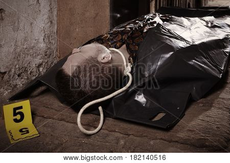 Desperate suicide man in body bag after suicide