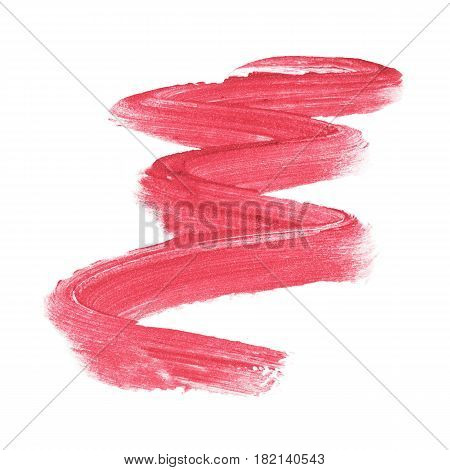 Lipstick Smear Isolated on White Background. Foundation Lipstick Smear. Lipstick Paint. Makeup Smear. Cosmetic Liquid Foundation Strokes