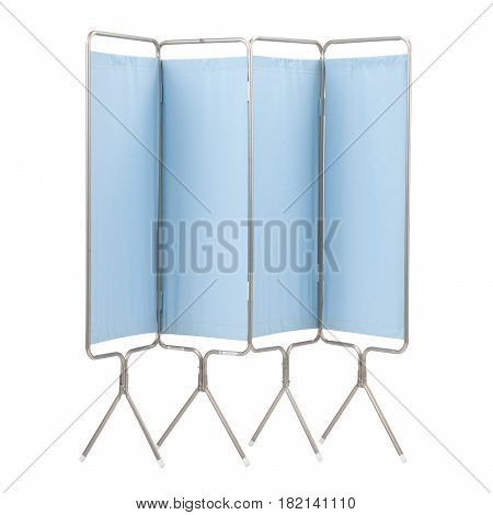 Modular Four Panel Privacy Screen for Patient Privacy Isolated on White Background. Patient Privacy Screen