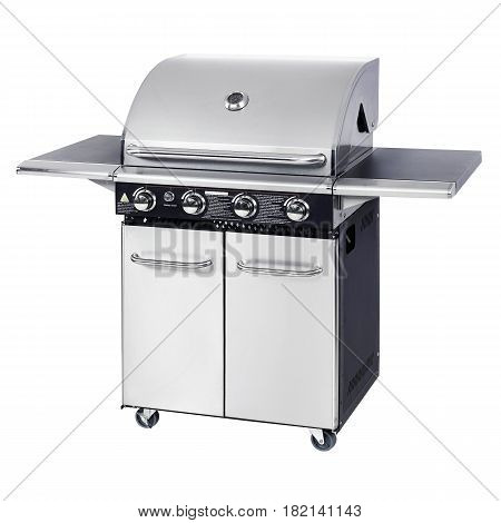 Stainless Steel Bbq Barbecue Gas Grill Isolated On White Background. Bbq Grillware Gas Grill. Outdoo