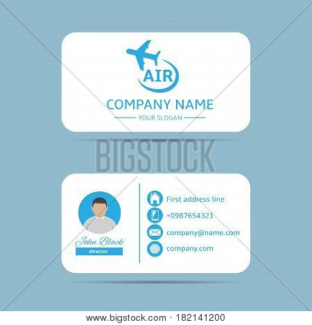 Business card template. Private Air company, Vector illustration