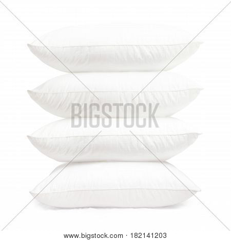 White Pillows Isolated On White Background. Synthetic Pillows 4 Pack. Clipping Path