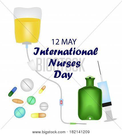 International Nurses Day. 12 May. Tablets, medications, syringe warmer enema Vector illustration