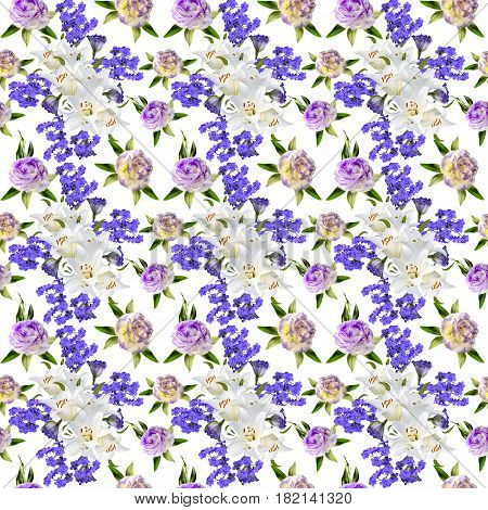 Beautiful floral seamless pattern with bouquets of white lilies two-color eustoma flowers and Greek valerian in victorian style on a white background