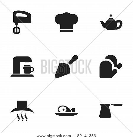 Set Of 9 Editable Meal Icons. Includes Symbols Such As Agitator, Food Shovel, Kitchen Hood And More. Can Be Used For Web, Mobile, UI And Infographic Design.