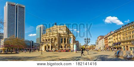 FRANKFURT AM MAIN, GERMANY - MARCH 30,2017 - Panoramic view at the Old Opera building in Frankfurt am Main. Frankfurt is the major financial centre of the European continent.