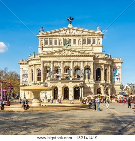 FRANKFURT AM MAIN ,GERMANY - MARCH 30,2017 - Building of Old Opera in Ftankfurt am Main. Frankfurt is the major financial centre of the European continent.