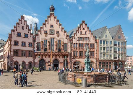 FRANKFURT AM MAIN ,GERMANY - MARCH 30,2017 - City hall Romer in Franfurt am Main. Frankfurt is the major financial centre of the European continent.
