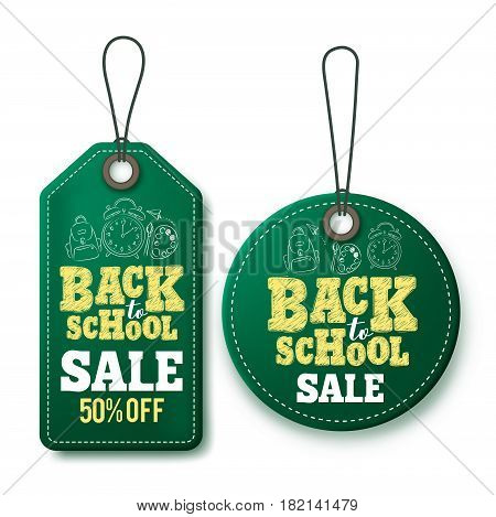 Back to school sale vector price tags and labels template in green isolated in white background for store marketing promotions. Vector illustration.