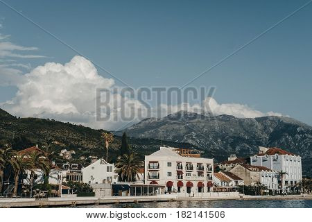 Embankment Of Tivat City. View Of Porto Montenegro Hotels And Village