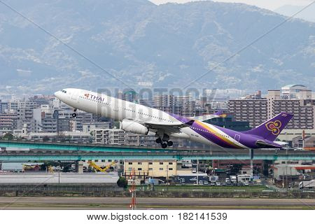 FUKUOKA, JAPAN - APR. 15, 2017: Airbus A330-300 taking off from the Fukuoka International Airport in Fukuoka, Japan.