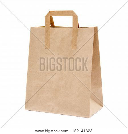 Blank Brown Kraft Paper Bag Isolated On White Background. None Printing. Template Mockup Collection.