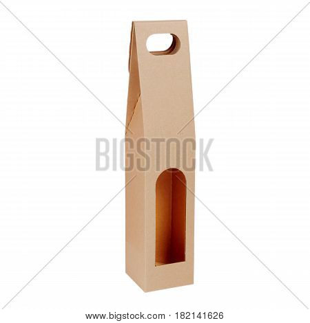 Blank Brown Kraft Paper Bag Isolated On White Background. Packaging Template Mockup Collection. Clip