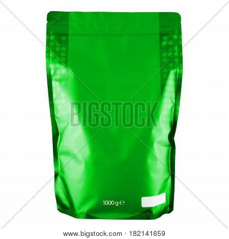 Blank Green Foil Coffee Bag Or Powder Bag Isolated On White Background. Aluminium Coffee Package. Pa