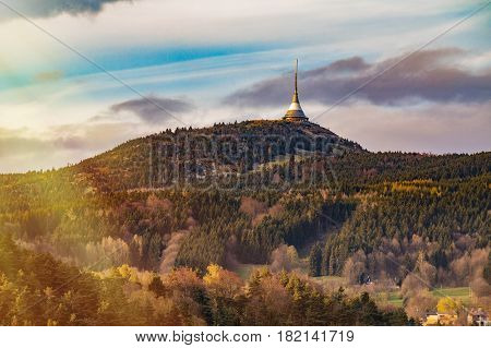 Spring day on Jested transmitter tower in sunset time Liberec Czech Republic