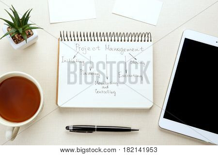 Notebook with written features of PROJECT MANAGEMENT on light background