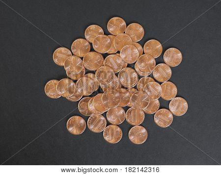 One Cent Dollar Coins, United States With Copy Space
