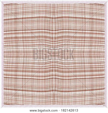 Weave grunge striped and checkered serviette in brown, beige colors with fringe