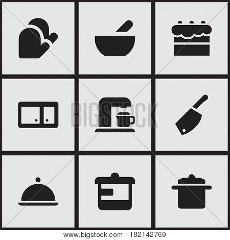 Set Of 9 Editable Cooking Icons. Includes Symbols Such As Soup, Salver, Backsword And More. Can Be Used For Web, Mobile, UI And Infographic Design.