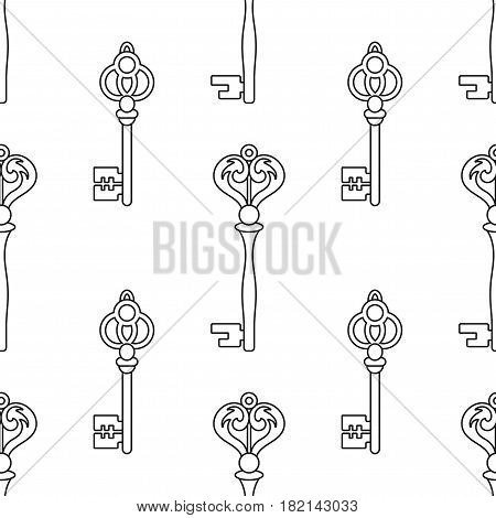 Black and white seamless pattern with vintage, old keys for coloring books, pages.