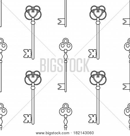 Black and white seamless pattern with vintage, old keys for coloring books, pages. Vector illustration