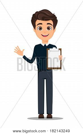 Business man cartoon character. Young handsome smiling businessman in smart casual clothes holding blank clipboard - stock vector