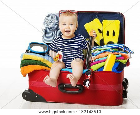 Baby in Travel Suitcase Kid Sitting Vacation Luggage Child inside Packed Bag White Isolated