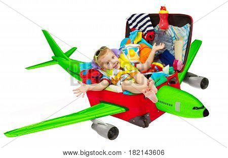Kid Travel in Suitcase Airplane Child inside Luggage Plane Flying to Vacation Isolated over White Background