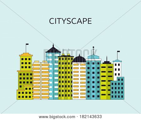 Cityscape with skyscrapers. View of modern city with tall buildings. EPS10 vector illustration in flat style.