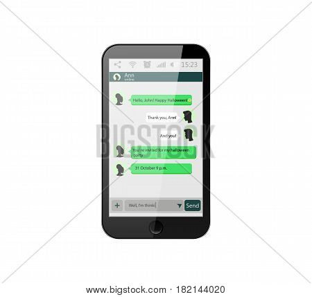 Mobile phone. Vector illustration. Social network concept. Vector. Messenger window. Chating and messaging concept. Green chat boxes. Realistic smartphone with green chat boxes.