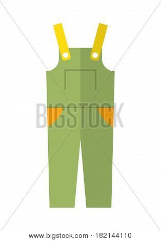 Coverall, protective clothing. Flat color icon and object for design.